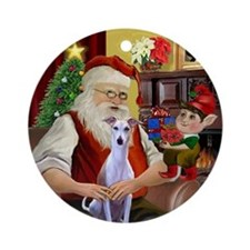 Santa at home with his Whippet Ornament (Round)