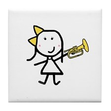 Girl & Mellophone Tile Coaster