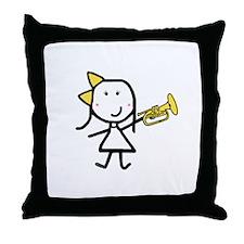 Girl & Mellophone Throw Pillow