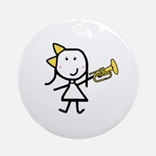 Girl & Mellophone Ornament (Round)