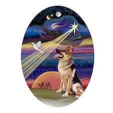 Christmas Star German Shepherd Oval Ornament