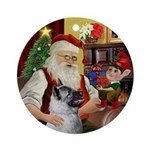 Santa's Norwegian Elkhound Ornament (Round)