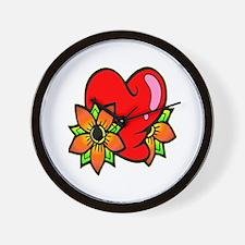 Tattoo Heart and Flowers Wall Clock