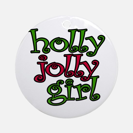 Holly Jolly Girl Ornament (Round)