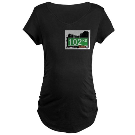 102 ROAD, QUEENS, NYC Maternity Dark T-Shirt