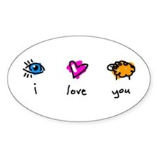i Love You (ewe) Oval Decal