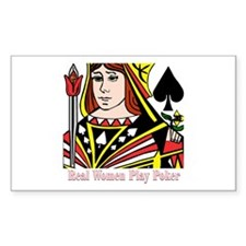 Real Women Play Poker Rectangle Decal