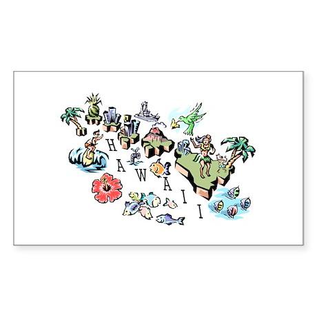 Hawaii Map Rectangle Sticker 10 pk)