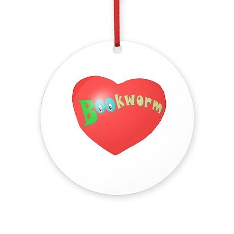 Bookworm Heart Ornament (Round)