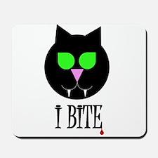 """I Bite"" Black Vamp Cat Mousepad"
