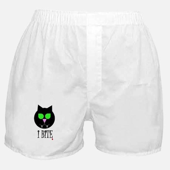 """I Bite"" Black Vamp Cat Boxer Shorts"
