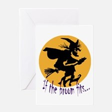 """""""If the broom fits"""" flying wi Greeting Card"""