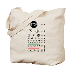 Road signs eye chart tote bag