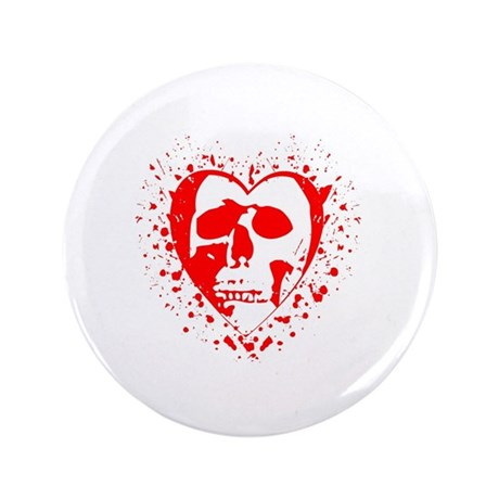 "Grunge Tattoo Heart Skull 3.5"" Button (100 pack)"