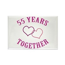 55th Anniversary Two Hearts Rectangle Magnet