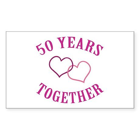 50th Anniversary Two Hearts Rectangle Sticker