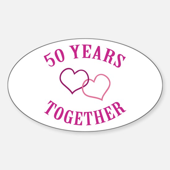50th Anniversary Two Hearts Oval Decal