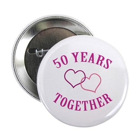 "50th Anniversary Two Hearts 2.25"" Button (100 pack"