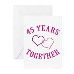 45th Anniversary Two Hearts Greeting Cards (Pk of