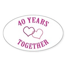 40th Anniversary Two Hearts Oval Decal
