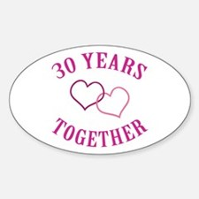 30th Anniversary Two Hearts Oval Decal