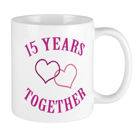 15th Anniversary Two Hearts Mug