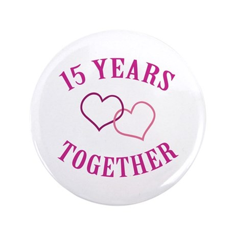 "15th Anniversary Two Hearts 3.5"" Button (100 pack)"