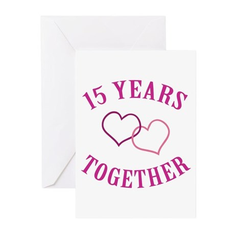 15th Anniversary Two Hearts Greeting Cards (Pk of