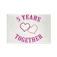 5th Anniversary Two Hearts Rectangle Magnet (10 pa
