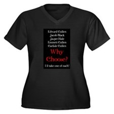 Why Choose? Red Women's Plus Size V-Neck Dark T-Sh