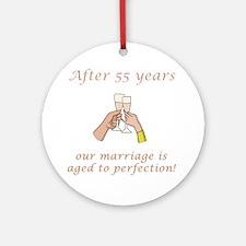 55th Anniversary Wine glasses Ornament (Round)
