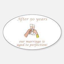 50th Anniversary Wine glasses Oval Decal