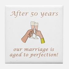 50th Anniversary Wine glasses Tile Coaster