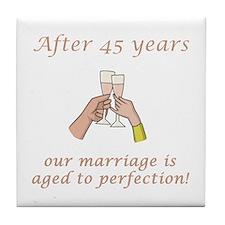 45th Anniversary Wine glasses Tile Coaster
