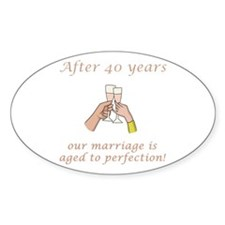 40th Anniversary Wine glasses Oval Decal