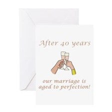 40th Anniversary Wine glasses Greeting Card