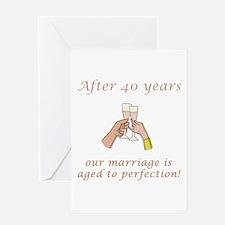 40th Anniversary Wine glasses Greeting Card