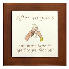 40th Anniversary Wine glasses Framed Tile