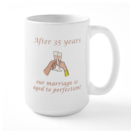 35th Anniversary Wine glasses Large Mug