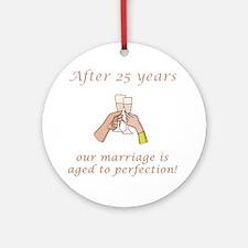 25th Anniversary Wine glasses Ornament (Round)