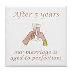 5th Anniversary Wine glasses Tile Coaster