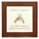 5th Anniversary Wine glasses Framed Tile