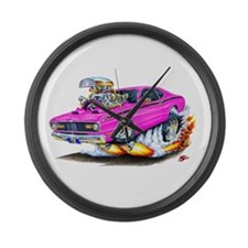 Duster Pink Car Large Wall Clock