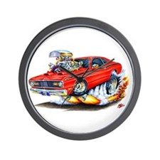 Duster Red Car Wall Clock
