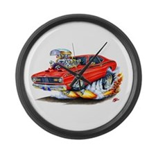 Duster Red Car Large Wall Clock