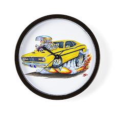 Duster Yellow Car Wall Clock