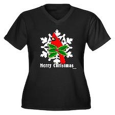 CHRISTMAS CARDINALWmn's Pls Sze V-Neck Drk T-Shirt