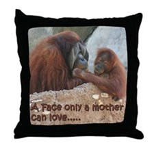 Orangutan Mom and Child Throw Pillow