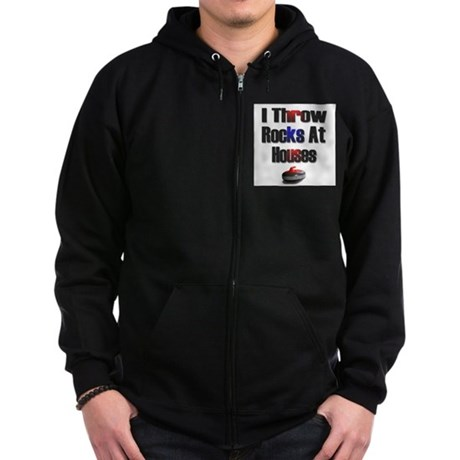 I Throw Rocks at Houses Zip Hoodie (dark)