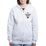 #1 Curling Mom Women's Zip Hoodie